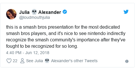 Twitter post by @loudmouthjulia: this is a smash bros presentation for the most dedicated smash bros players, and it's nice to see nintendo indirectly recognize the smash community's importance after they've fought to be recognized for so long.