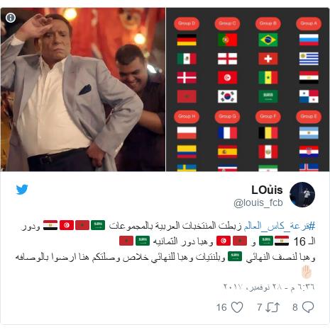 تويتر رسالة بعث بها @louis_fcb: #قرعة_كاس_العالم زبطت المنتخبات         العربية بالمجموعات 🇸🇦🇲🇦🇹🇳🇪🇬 ودور     الـ 16 🇪🇬🇸🇦 و 🇲🇦🇹🇳 وهبا دور  الثمانيه       🇸🇦🇲🇦وهبا لنصف النهائي 🇸🇦 وبلنتيات وهبا للنهائي خلاص وصلتكم هنا ارضوا بالوصافه ✋🏻
