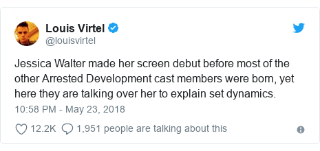 Twitter post by @louisvirtel: Jessica Walter made her screen debut before most of the other Arrested Development cast members were born, yet here they are talking over her to explain set dynamics.