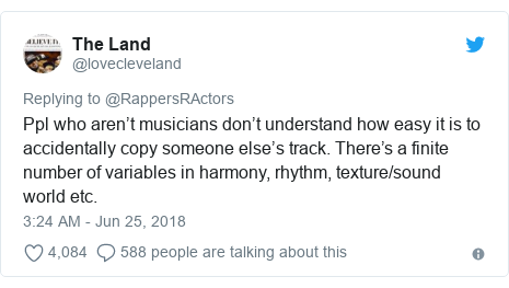Twitter post by @lovecleveland: Ppl who aren't musicians don't understand how easy it is to accidentally copy someone else's track. There's a finite number of variables in harmony, rhythm, texture/sound world etc.