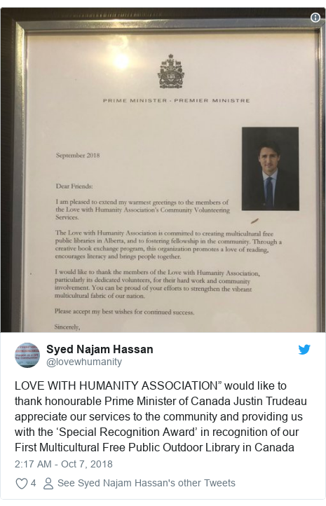 """Twitter post by @lovewhumanity: LOVE WITH HUMANITY ASSOCIATION"""" would like to thank honourable Prime Minister of Canada Justin Trudeau appreciate our services to the community and providing us with the 'Special Recognition Award' in recognition of our First Multicultural Free Public Outdoor Library in Canada"""