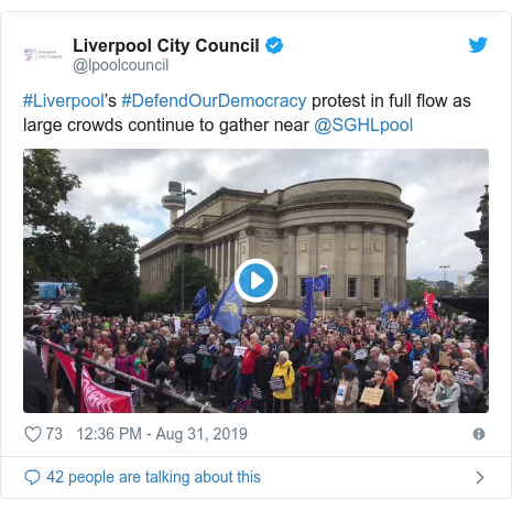 Twitter post by @lpoolcouncil: #Liverpool's #DefendOurDemocracy protest in full flow as large crowds continue to gather near @SGHLpool