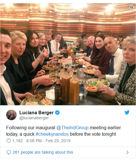 Twitter post by @lucianaberger: Following our inaugural @TheIndGroup meeting earlier today, a quick #cheekynandos before the vote tonight