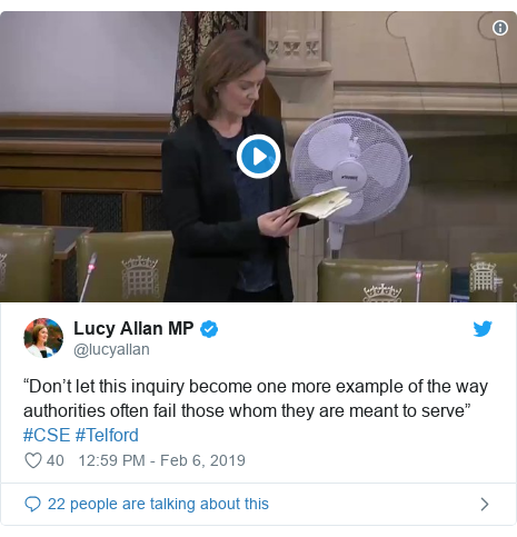 "Twitter post by @lucyallan: ""Don't let this inquiry become one more example of the way authorities often fail those whom they are meant to serve"" #CSE #Telford"