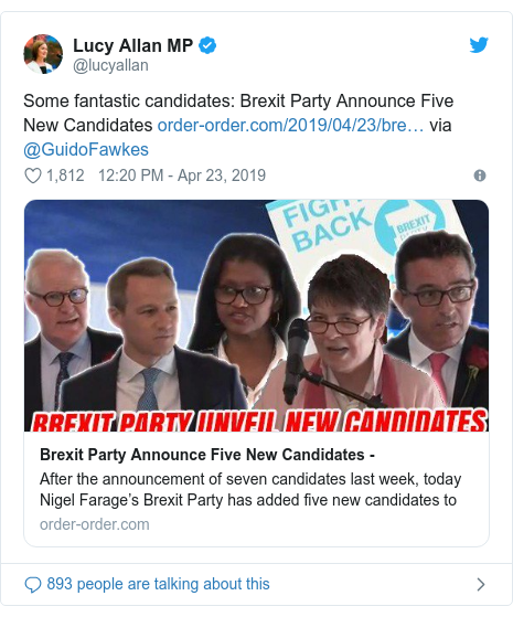 Twitter post by @lucyallan: Some fantastic candidates  Brexit Party Announce Five New Candidates  via @GuidoFawkes