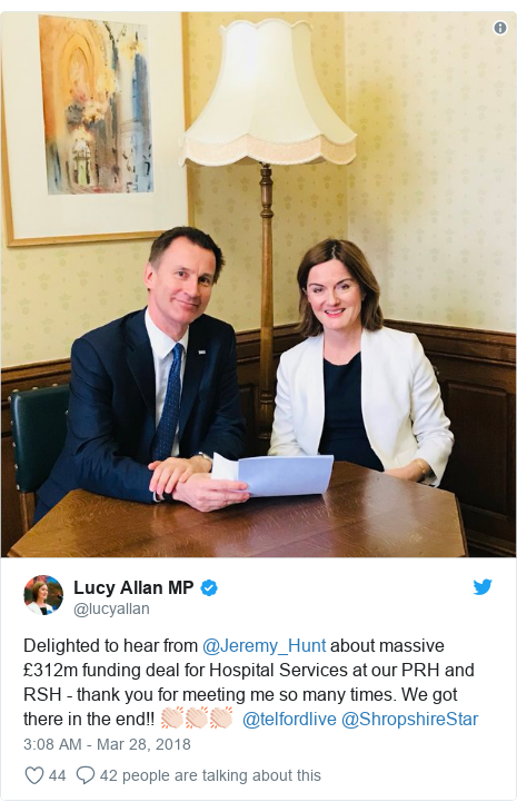 Twitter post by @lucyallan: Delighted to hear from @Jeremy_Hunt about massive £312m funding deal for Hospital Services at our PRH and RSH - thank you for meeting me so many times. We got there in the end!! 👏🏻👏🏻👏🏻  @telfordlive @ShropshireStar