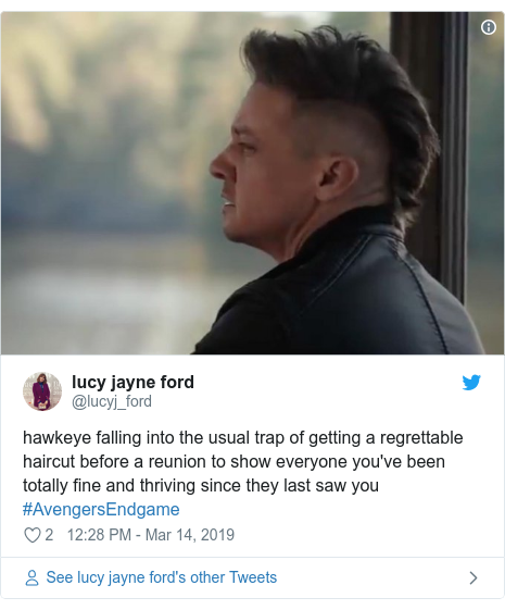 Twitter post by @lucyj_ford: hawkeye falling into the usual trap of getting a regrettable haircut before a reunion to show everyone you've been totally fine and thriving since they last saw you #AvengersEndgame