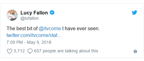 Twitter post by @lufallon: The best bit of @itvcorrie I have ever seen.