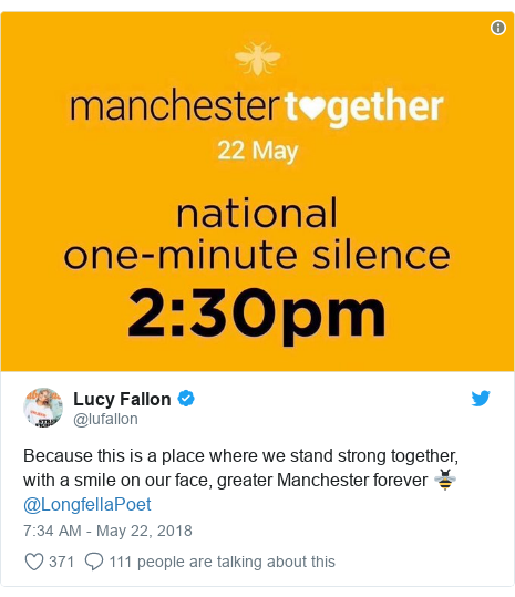 Twitter post by @lufallon: Because this is a place where we stand strong together, with a smile on our face, greater Manchester forever 🐝 @LongfellaPoet