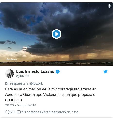 Publicación de Twitter por @luizork: Esta es la animación de la microrráfaga registrada en Aeropiero Guadalupe Victoria, misma que propició el accidente