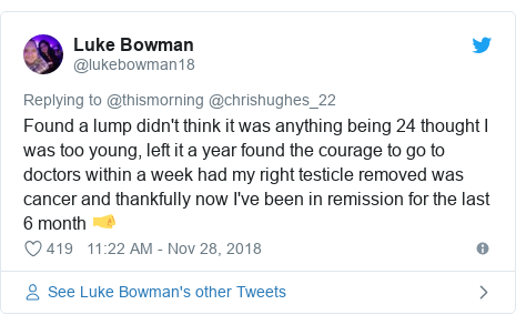 Twitter post by @lukebowman18: Found a lump didn't think it was anything being 24 thought I was too young, left it a year found the courage to go to doctors within a week had my right testicle removed was cancer and thankfully now I've been in remission for the last 6 month 🤜