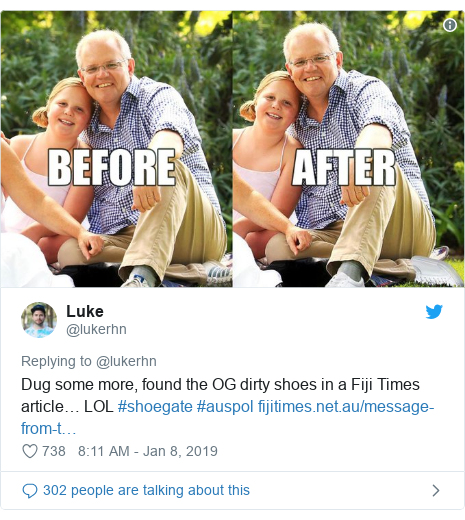 Twitter post by @lukerhn: Dug some more, found the OG dirty shoes in a Fiji Times article… LOL #shoegate #auspol