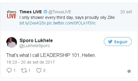 Twitter post de @LukheleSporo: That's what I call LEADERSHIP 101, Hellen.
