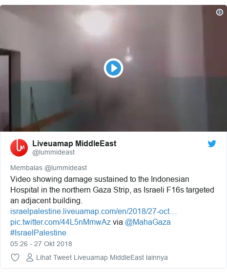 Twitter pesan oleh @lummideast: Video showing damage sustained to the Indonesian Hospital in the northern Gaza Strip, as Israeli F16s targeted an adjacent building.   via @MahaGaza #IsraelPalestine