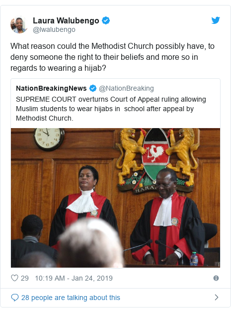 Ujumbe wa Twitter wa @lwalubengo: What reason could the Methodist Church possibly have, to deny someone the right to their beliefs and more so in regards to wearing a hijab?