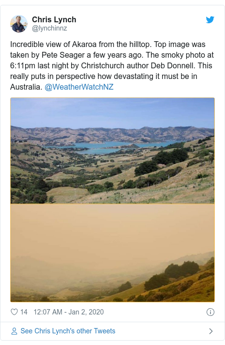 Twitter post by @lynchinnz: Incredible view of Akaroa from the hilltop. Top image was taken by Pete Seager a few years ago. The smoky photo at 6 11pm last night by Christchurch author Deb Donnell. This really puts in perspective how devastating it must be in Australia. @WeatherWatchNZ