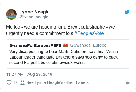 Twitter post by @lynne_neagle: Me too - we are heading for a Brexit catastrophe - we urgently need a commitment to a #PeoplesVote