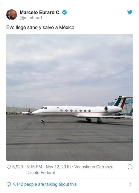 Twitter post by @m_ebrard: Evo llegó sano y salvo a México