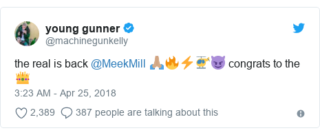 Twitter post by @machinegunkelly: the real is back @MeekMill 🙏🏽🔥⚡️🚁😈 congrats to the 👑