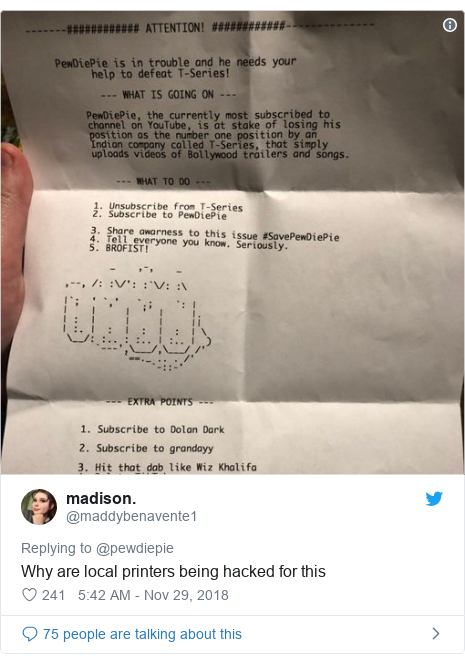 Twitter post by @maddybenavente1: Why are local printers being hacked for this