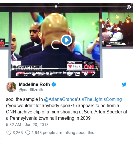 """Twitter post by @madfitzroth: soo, the sample in @ArianaGrande's #TheLightIsComing (""""you wouldn't let anybody speak!"""") appears to be from a CNN archive clip of a man shouting at Sen. Arlen Specter at a Pennsylvania town hall meeting in 2009"""
