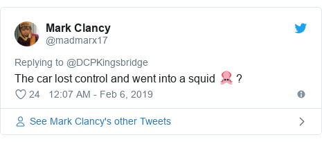 Twitter post by @madmarx17: The car lost control and went into a squid 🦑 ?