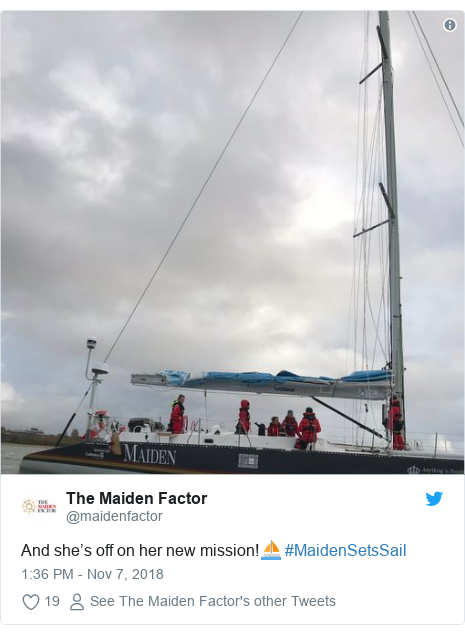 Twitter post by @maidenfactor: And she's off on her new mission!⛵️ #MaidenSetsSail