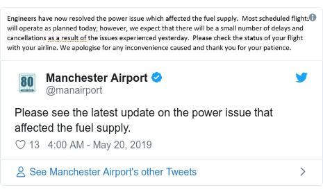 Twitter post by @manairport: Please see the latest update on the power issue that affected the fuel supply.