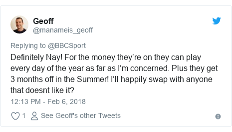 Twitter post by @manameis_geoff: Definitely Nay! For the money they're on they can play every day of the year as far as I'm concerned. Plus they get 3 months off in the Summer! I'll happily swap with anyone that doesnt like it?