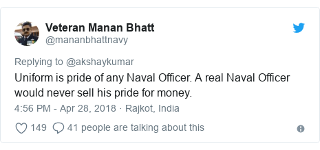 Twitter post by @mananbhattnavy: Uniform is pride of any Naval Officer. A real Naval Officer would never sell his pride for money.