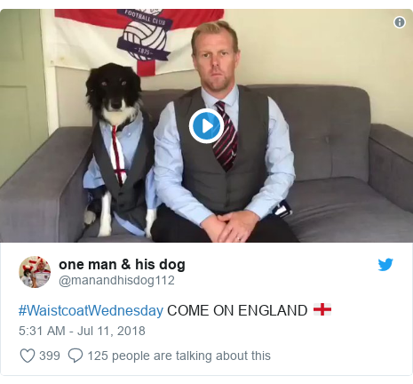 Twitter post by @manandhisdog112: #WaistcoatWednesday COME ON ENGLAND 🏴