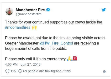 Twitter post by @manchesterfire: Thanks for your continued support as our crews tackle the #moorlandfires 🙌Please be aware that due to the smoke being visible acrossGreater Manchester @NW_Fire_Control are receiving a huge amount of calls from the public. Please only call if it's an emergency 🙏🚨