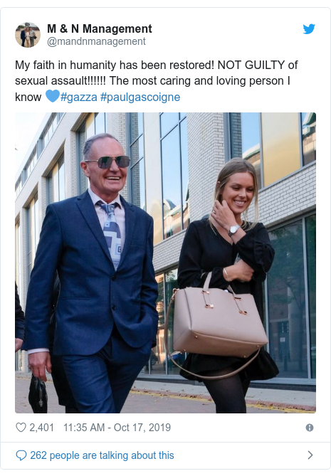 Twitter post by @mandnmanagement: My faith in humanity has been restored! NOT GUILTY of sexual assault!!!!!! The most caring and loving person I know 💙#gazza #paulgascoigne