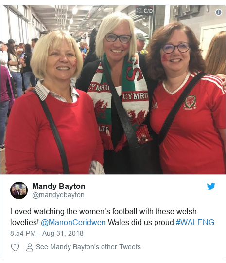 Twitter post by @mandyebayton: Loved watching the women's football with these welsh lovelies! @ManonCeridwen Wales did us proud #WALENG