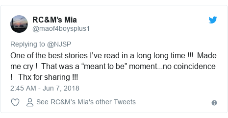 """Twitter post by @maof4boysplus1: One of the best stories I've read in a long long time !!!  Made me cry !  That was a """"meant to be"""" moment...no coincidence !   Thx for sharing !!!"""