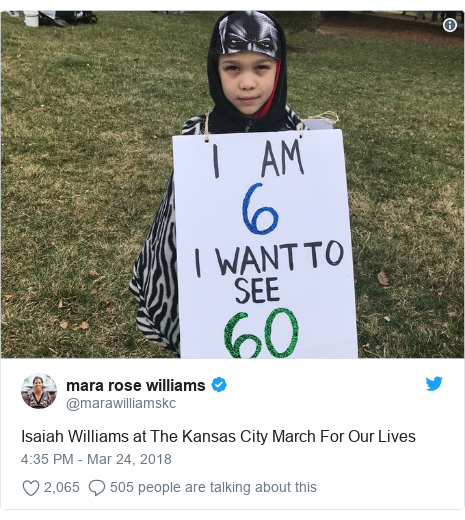 Twitter post by @marawilliamskc: Isaiah Williams at The Kansas City March For Our Lives
