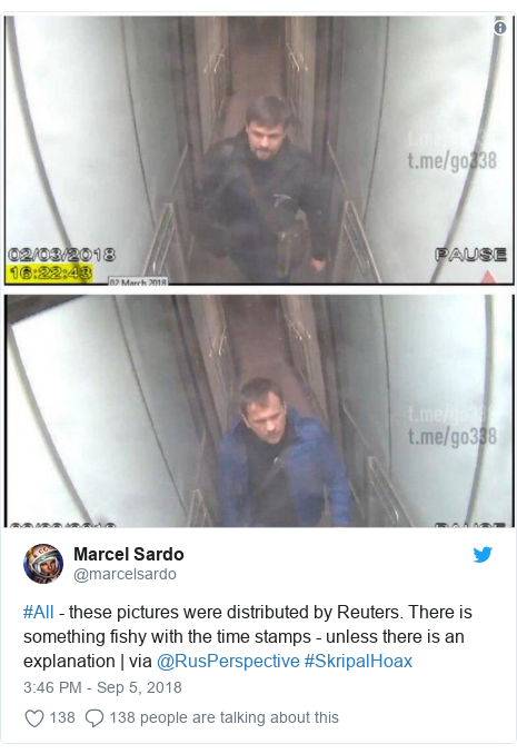 Twitter post by @marcelsardo: #All - these pictures were distributed by Reuters. There is something fishy with the time stamps - unless there is an explanation | via @RusPerspective #SkripalHoax