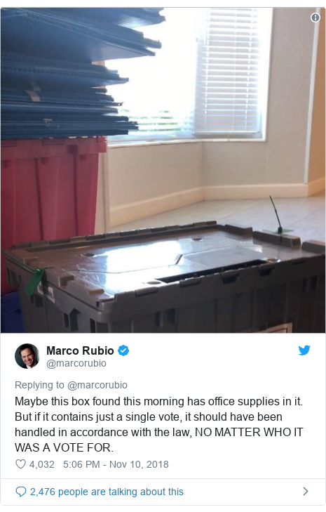 Twitter post by @marcorubio: Maybe this box found this morning has office supplies in it. But if it contains just a single vote, it should have been handled in accordance with the law, NO MATTER WHO IT WAS A VOTE FOR.