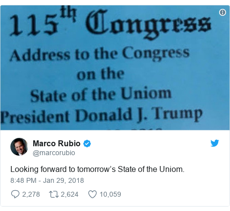 Twitter post by @marcorubio: Looking forward to tomorrow's State of the Uniom.