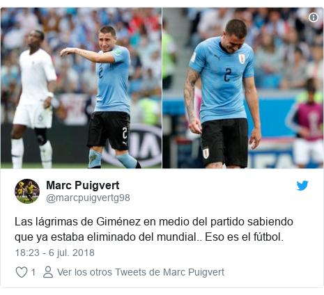Publicación de Twitter por @marcpuigvertg98: Las lágrimas de Giménez en medio del partido sabiendo que ya estaba eliminado del mundial.. Eso es el fútbol.