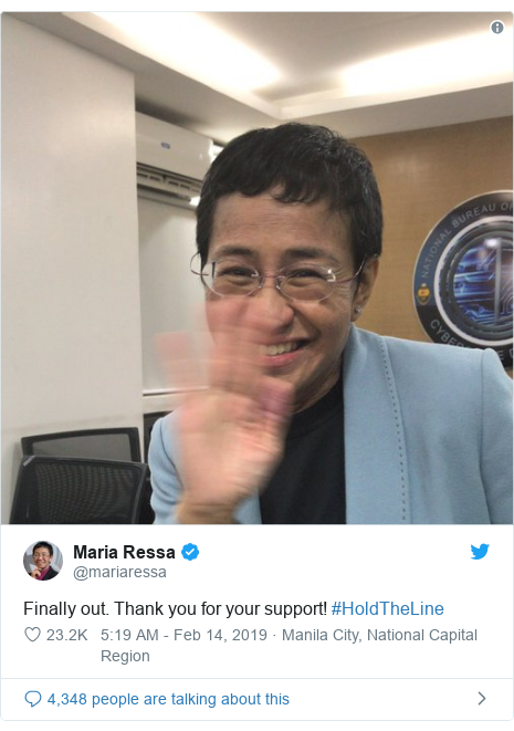 Twitter post by @mariaressa: Finally out. Thank you for your support! #HoldTheLine