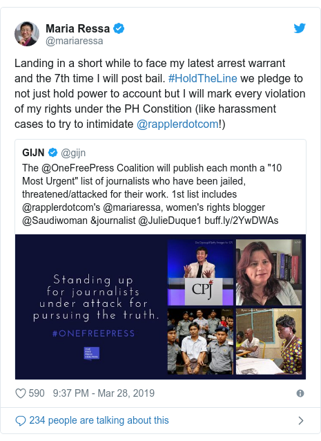 Twitter post by @mariaressa: Landing in a short while to face my latest arrest warrant and the 7th time I will post bail. #HoldTheLine we pledge to not just hold power to account but I will mark every violation of my rights under the PH Constition (like harassment cases to try to intimidate @rapplerdotcom!)