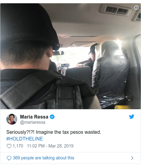 Twitter post by @mariaressa: Seriously?!?! Imagine the tax pesos wasted. #HOLDTHELINE