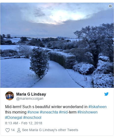 Twitter post by @mariemccolgan: Mid-term! Such s beautiful winter wonderland in #Iskaheen this morning #snow #sneachta #mid-term #Inishowen #Donegal #noschool