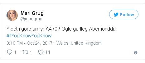 Neges Twitter gan @marigrug: Y peth gore am yr A470? Ogle garlleg Aberhonddu. #IfYouKnowYouKnow