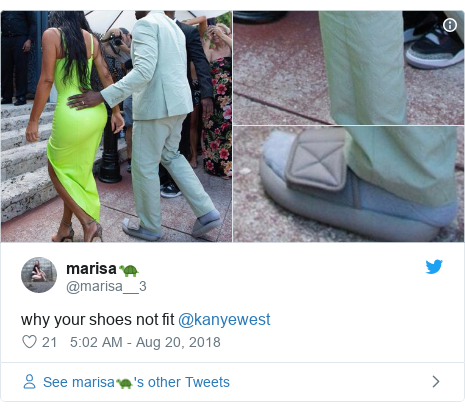 Twitter post by @marisa__3: why your shoes not fit @kanyewest