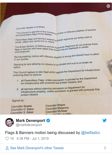 Twitter post by @markdevenport: Flags & Banners motion being discussed by @belfastcc