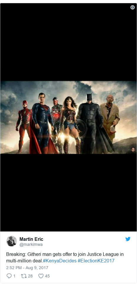 Ujumbe wa Twitter wa @markimwa: Breaking  Githeri man gets offer to join Justice League in multi-million deal.#KenyaDecides #ElectionKE2017