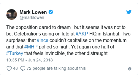 Twitter post by @marklowen: The opposition dared to dream...but it seems it was not to be. Celebrations going on late at #AKP HQ in Istanbul. Two surprises  that #Ince couldn't capitalise on the momentum and that #MHP polled so high. Yet again one half of #Turkey that feels invincible, the other distraught.