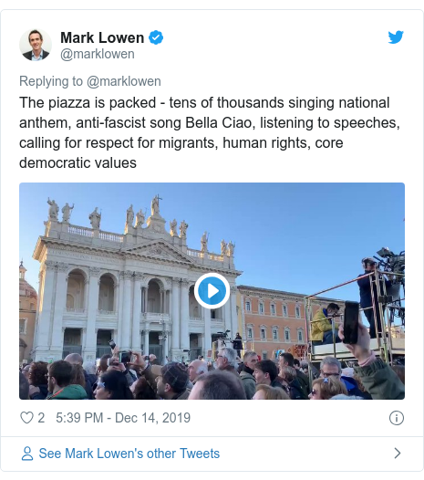 Matteo Salvini: 'Sardines' pack in for Rome protest